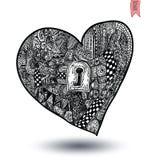 Formas dos corações, ornamento tirados mão Foto de Stock Royalty Free