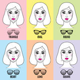 Formas dos óculos de sol das mulheres para formas diferentes da cara Foto de Stock