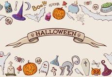 Formas dos desenhos animados da cor no tema de Dia das Bruxas foto de stock