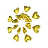 Formas douradas do amor do coração 3D Foto de Stock Royalty Free