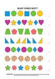 Formas e jogo educacional da lógica das cores - reconhecimento de padrões sequencial ilustração royalty free