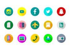 Formas e tecnologia sociais do ícone Fotografia de Stock Royalty Free
