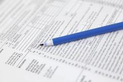Formas en blanco del impuesto sobre la renta Forma de la declaración sobre la renta del individuo del americano 1040 Fotografía de archivo