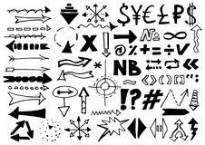 Formas escritas del vector del rotulador Destaque las flechas, las líneas escritas mano y las muestras aisladas en el fondo blanc libre illustration