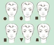 Formas femeninas de la cara ilustración del vector