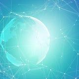 Formas futuristas abstractas de la red Fondo de HUD, líneas de conexión y puntos de alta tecnología, textura linear poligonal mun stock de ilustración
