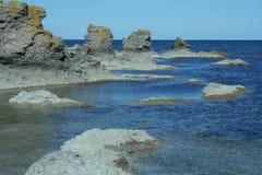 Formas geológicas de Suecia, Gotland Imagen de archivo