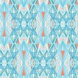 Formas geométricas azuis marítimas do diamante Fundo sem emenda do teste padr?o do vetor Ilustração étnica abstrata tirada mão do ilustração royalty free
