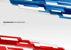 Formas geométricas brillantes azules, rojas y blancas del jefe del extracto que coinciden el fondo futurista de mudanza de la pre stock de ilustración