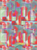 Formas geométricas coloreadas en un fondo rojo brillante Fotos de archivo libres de regalías