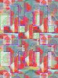 Formas geométricas coloridas em um fundo vermelho brilhante ilustração stock