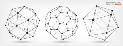 Formas geométricas complejas Geométrico abstracto Una serie de papeles Elemento poligonal de la malla de Wireframe ilustración del vector