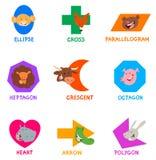 Formas geométricas con los caracteres animales divertidos Imagen de archivo libre de regalías
