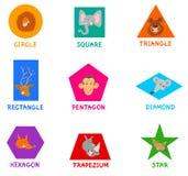 Formas geométricas con los caracteres animales lindos Imagenes de archivo