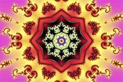 Formas geométricas consistindo da textura abstrata bonita de espirais e de ornamento do fractal em um fundo multi-colorido bonito ilustração stock