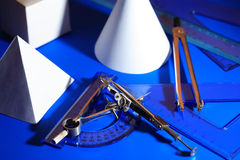 Formas geométricas e ferramentas Foto de Stock