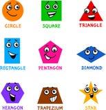 Formas geométricas básicas com faces dos desenhos animados Fotografia de Stock