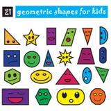 Formas geométricas divertidas fijadas de 21 iconos Diseño plano de la historieta para los niños Objetos sonrientes coloreados ais Fotos de archivo libres de regalías