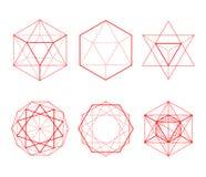Formas hexagonales fijadas Formas cristalinas Imagen de archivo libre de regalías