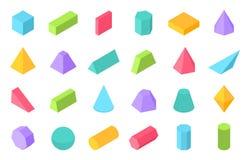 Formas isométricas 3D formulário geométrico, objetos lisos do polígono da geometria tais como a esfera do cilindro da pirâmide de ilustração stock