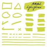 Formas a mano y líneas - highlighters reales Imagen de archivo libre de regalías