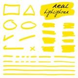 Formas a mano y líneas - highlighters reales Fotografía de archivo