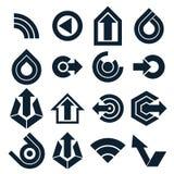 Formas monocromáticas del extracto del vector, diversos iconos del negocio y Fotografía de archivo