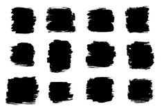 Formas negras del movimiento del cepillo aisladas en un fondo blanco Fotos de archivo