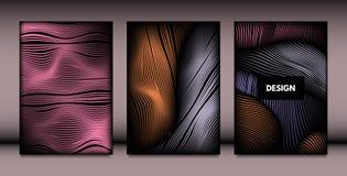 Formas onduladas abstratas com efeito 3d ilustração do vetor