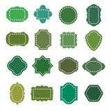 Formas orgánicas naturales verdes del vector de las insignias del producto de Eco fijadas Imágenes de archivo libres de regalías