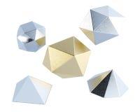 Formas polivinílicas bajas aisladas en el fondo blanco representación 3d stock de ilustración