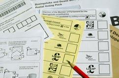 Formas postales de la votación Imagen de archivo libre de regalías
