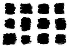 Formas pretas do curso da escova isoladas em um fundo branco Fotos de Stock