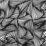 Formas preto e branco tiradas do teste padrão do fundo mão abstrata com efeito 3D ilustração stock