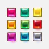 Formas quadradas de cristal lustrosas bonitas para o projeto da Web ou de jogo ilustração stock