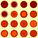 Formas redondas del sello en colores anaranjado-marrones Fotos de archivo