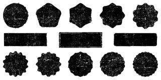 Formas retras de las estrellas de la colección Chispas del rojo Sellos y matasellos postales del vintage ilustración del vector