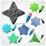 Formas Scribbled das estrelas. Foto de Stock Royalty Free