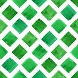 Formas verdes da geometria da aquarela Teste padrão sem emenda foto de stock