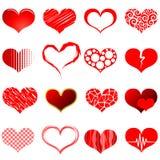 Formas vermelhas do coração Fotos de Stock Royalty Free