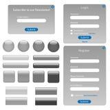 Formas y botones grises del Web Fotos de archivo libres de regalías