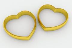 format bröllop för guldhjärta cirklar Arkivfoto
