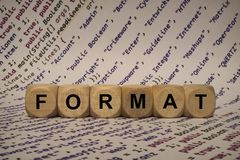 Format - cube with letters and words from the computer, software, internet categories, wooden cubes stock photo