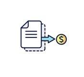 Format eps10 Das Dokument mit der Münze: Rechnung, Empfang, Zahlung Auch im corel abgehobenen Betrag Stockbild