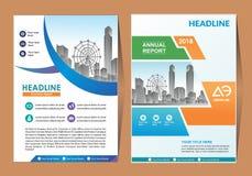 Format för räkningsmall a4 Affärsbroschyrdesign Årsrapporträkning också vektor för coreldrawillustration royaltyfri illustrationer