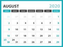 Format f?r skrivbordkalenderorientering 8 x 6 tum, Februari 2020 kalendermall, stadsplaneraredesign, veckastarter p? s?ndag, brev vektor illustrationer