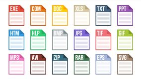 Format File Vector. Various Pictogram File Format Type. Software Label. Flat Isolated Illustration. Format File Vector. Document Pictogram File Formats Symbol Stock Photos