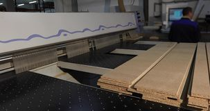 Formate a máquina para cortar o cartão, MDF, processo de corte do cartão, os controles de operador a máquina, industrial vídeos de arquivo