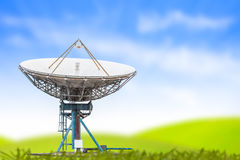 Formatet för radar för antennen för den satellit- maträtten gräs det stora och blå himmel backgro Royaltyfria Bilder