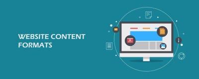 Formati contenti del sito Web - vendita digitale compreso il video, email, articolo, libro elettronico, concetto di dati Insegna  illustrazione di stock